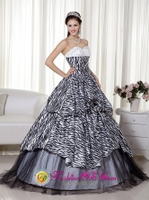 Beading and Ruch 2013 La Esperanza Honduras Quinceanera Dress Luxurious A-line  Princess Sweetheart Floor-length Zebra and Organza for Formal Evening Wholesale  Style MLXN105FOR