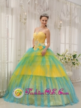 Beading and Ruch Brand New Yellow and Blue 2013 Jayuya Puerto Rico Spring Quinceanera Dress For Winter Strapless Tulle Popular Ball Gown Wholesale Style QDZY468FOR