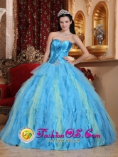 Beautiful Strapless and Multi-color Ruffles Quinceanera Dresses With Beaded Decorate and Ruch In Guayama Puerto Rico Wholesale Style QDZY363FOR