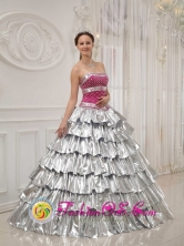 Beautiful strapless 2013 Carolina Puerto Rico Popular Princess Quinceanera Dress with Brilliant silver Wholesale  Style QDZY425FOR