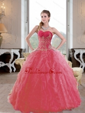 Brand New Ruffles and Appliques 2015 Quinceanera Gown in Coral Red QDDTB19002FOR