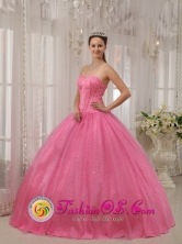 Classical Pink Sweet Quinceanera Dress With Sweetheart Neckline Beaded Decorate for Military Bal In Las Piedras Puerto Rico Wholesale Style QDZY546FOR