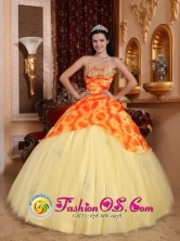 Customer Made Light Yellow Beaded Decorate Quinceanera Dress With Sweetheart Neckline On Tulle In Ciales Puerto Rico Wholesale Style QDZY729FOR
