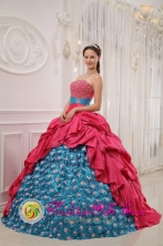 Customize Perfect Red and Blue Quinceanera Dress For 2013 Hormigueros Puerto Rico Strapless Taffeta With glistening Beading Ball Gown Wholesale Style QDZY451FOR