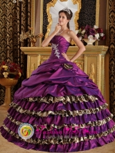 Customize Ruffles Layered and Purple For 2013 Intibuca Honduras  Modest Quinceanera Dress Wholesale  Style QDZY392FOR