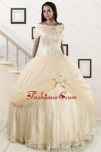 Elegant Appliques 2015 Champagne Quinceanera Dress with Wraps XFNAO121AFOR