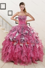 Exquisite Beading Hot Pink Sweet 15 Dress with Leopard XFNAO128FOR