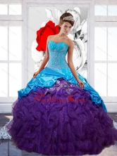Free and Easy Sweetheart Ruffles Sweet 16 Dresses with Appliques and Pick Ups QDDTB16002FOR