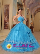 Glistening Sequin and Organza With Bows Formal Baby Blue Strapless Quinceanera Dress Ball Gown for Prom In Barranquitas Puerto Rico Wholesale Style QDZY447FOR