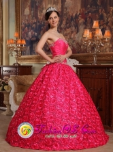 Graceful Ball Gown For 2013 Aguadilla Puerto Rico Quinceanera Dress Fabric With Rolling Flower Appliques Decorate Up Bodice Coral Red  Wholesale Style QDZY156FOR