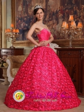 Graceful Ball Gown For 2013 Dorado Puerto Rico Quinceanera Dress Fabric With Rolling Flower Appliques Decorate Up Bodice Coral Red Wholesale Style QDZY156FOR