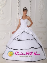 Hand Made Flowers Decorate One Shoulder For 2013 Arroyo Puerto Rico Summer Quinceanera Dress With Beading Wholesale Style QDZY307FOR
