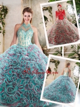 Hot Sale Appliques and Ruffles Quinceanera Dresses with Halter Top SJQDDT214002-1FOR