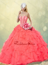 Hot Sale Coral Red Quinceanera Dresses with Beading and Ruffles for Fall SJQDDT252002-2FOR