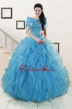 Hot Sell Blue Quinceanera Dresses With Beading and Ruffles XFNAOA19AFOR