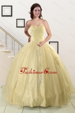 Latest Appliques Quinceanera Dress in Yellow For 2015 XFNAO823FOR