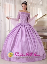 Lilac Off The Shoulder Taffeta and Organza Long Sleeves Quinceanera Gowns With Appliques For Sweet 16 In Maunabo Puerto Rico Wholesale Style PDZY574FOR