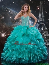 Luxurious 2016 Fall Brush Train Turquoise Quinceanera Dresses with Beading and Ruffles QDDTA90002FOR