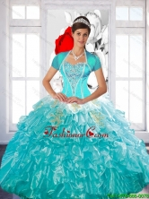 Luxurious Beaded Quinceanera Dress with Ruffled Layers and Appliques for 2015Fall SJQDDT49002FOR