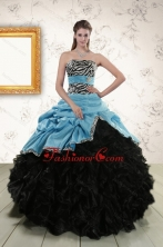 Luxurious Ruffles 2015 Quinceanera Dresses with Zebra and Belt XFNAO435FOR