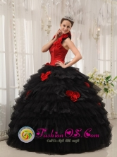 Military Ball Black and Red Hand Made Flowers For Gorgeous Quinceanera Dress with Ruffles Layered In Juncos Puerto Rico Wholesale Style QDZY523FOR