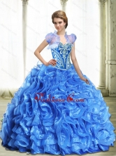 Modest Royal Blue Quinceanera Dresses with Beading and Ruffles SJQDDT32002FOR