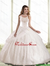 New Style 2015 Summer Ball Gown Hand Made Flowers and Beaded Quinceanera Dress SJQDDT46002FOR