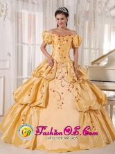 Off The Shoulder and Short Sleeves Yellow Quinceanera Dress With Embroidery and Pick-ups for 2013 Adjuntas Puerto Rico Wholesale Style PDZY538FOR