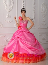 One Shoulder Multi-color Beaded Decorate Bust and Hand Made Flowers Quinceanera Dresses With Pick-ups for Formal Evening In Utuado Puerto Rico Wholesale Style QDZY452FOR