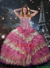 Perfect 2016 Winter Beaded Multi Color Quinceanera Dresses with Ruffled Layers QDDTA114002FOR