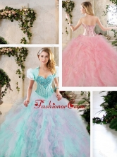 Perfect Multi Color Quinceanera Dresses with Beading and Ruffles SJQDDT235002FOR