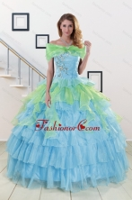 Pretty Beading Strapless Multi-color Quinceanera Dress for 2015 XFNAO255AFOR