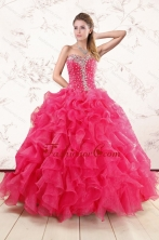 Pretty Beading and Ruffles Sweet 15 Dresses in Hot Pink XFNAO885FOR