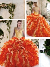 Pretty Multi Color Quinceanera Dresses with Beading and Ruffles SJQDDT218002-1FOR