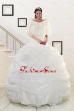 Pretty White Strapless 2015 Quinceanera Dresses with Beading XFNAO186FOR
