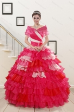 Puffy Beading Quinceanera Dresses with One Shoulder for 2015 XFNAO239AFOR