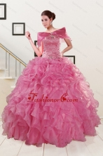 Puffy Sweetheart Pink Quinceanera Dresses with Beading XFNAOA06AFOR
