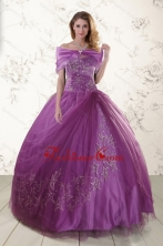 Purple Sweetheart Appliques 2015 Quinceanera Dresses with Embroidery XFNAO296AFOR