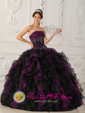 Purple and Black Brand New Quinceanera Dress With Beaded Decorate and Ruffles Floor Length For 2013 Mayaguez Puerto Rico Fall Wholesale Style QDZY027FOR