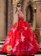 Red Ball Gown Strapless Floor-length Organza Dress For 2013 Guanica Puerto Rico Quinceanera Wholesale Style QDZY250FOR