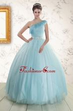 Romantic One Shoulder Blue Quinceanera Dress for 2015 XFNAO588