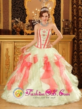 Sweet 16 Multi-Color Quinceanera Dress With Sweetheart Neckline Organza for 2013 Adjuntas Puerto Rico Quinceanera Wholesale Style QDZY029FOR