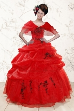 Sweetheart Red Quinceanera Dresses With Applique for 2015 XFNAO508AFOR