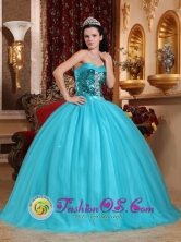 Sweetheart Sequin Decorate Bust Turquoise Stylish Quinceanera Dresses Party Style In Nueva Ocotepeque Honduras Wholesale  Style QDZY551FOR
