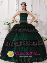 Taffeta and Lace For Dark Green Gorgeous Quinceanera Dress With Ruched Bodice and Appliques for Sweet 16 In Camuy Puerto Rico Wholesale Style QDZY524FOR