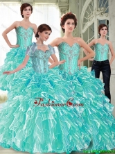 Top Seller Ball Gown 2015 Fall Quinceanera Dresses with Ruffles and Beading SJQDDT62001FOR