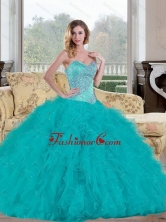 Unique 2015 Ball Gown Quinceanera Dress with Beading and Ruffles QDDTC45002-1FOR