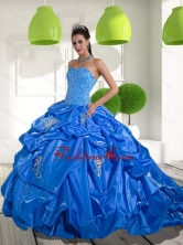 Unique 2015 Beading and Appliques Quinceanera Dresses with Brush Train QDDTD33002FOR