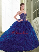 Unique 2015 Sweetheart Beading and Ruffles Navy Blue Quinceanera Dresses QDDTA72002FOR