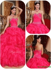 Unique Ball Gown Beading Sweet 16 Dresses in Coral RedQDZY032DFOR